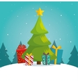 green tree christmas gifts boxes landscape vector image vector image
