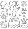 hand draw element wedding in doodles vector image vector image