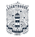 Hand drawn vintage label with a lighthouse and vector image vector image