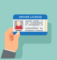 hand hold car driver license identification photo vector image vector image