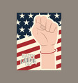 happy labor day card with hand fist and usa flag vector image