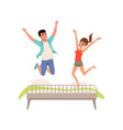 happy romantic couple jumping on the bed vector image vector image
