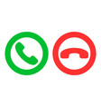 icon or button green and red handset as phone call vector image vector image