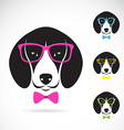 images of dog beagle wearing glasses vector image vector image