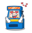 in love slot machine next to cartoon chair vector image vector image
