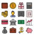 money icon set on white background vector image vector image