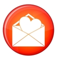 Open envelope with heart icon flat style vector image vector image