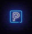 parking neon sign parking zone design vector image vector image