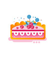 piece of layered delicious cake with cranberries vector image vector image