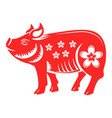 pig animal chinese horoscope sign with flower vector image