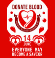 poster for 14 june of blood donor day vector image vector image