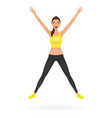pretty jumping girl in leggings and crop top with vector image vector image
