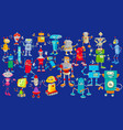 robots cartoon characters huge group vector image