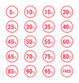 sale set of badges with different percent off vector image vector image