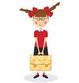 Schoolgirl with briefcase vector image vector image