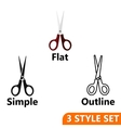 Scissors icons set vector image vector image