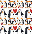 Seamless background with penguins in love vector image vector image