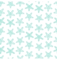 seamless pattern with sea stars in blue color vector image