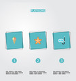 set of summer icons flat style symbols with ice vector image