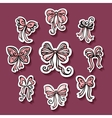 set stickers with ornamental holiday bows vector image