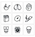 Smoking and effects on the body icons set vector image vector image