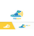 sneaker and wifi logo combination shoe and vector image vector image