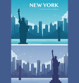 statue liberty banner set world landmark vector image
