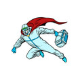 superhero doctor man flies to rescue with a vector image