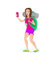 teenage girl tourist hipster funny cartoon vector image
