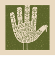 thanksgiving card design with hand print turkey vector image vector image