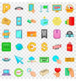 touching button icons set cartoon style vector image vector image