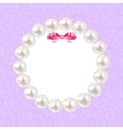 Vintage Pearl Frame with Bow Background vector image