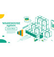 warehouse system isometric outline cardboard vector image