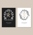 wedding invitation card template thin line vector image vector image