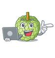 with laptop sugar apple fruit isolated on cartoon