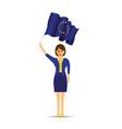woman holding a european flag vector image vector image