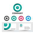 glossy set of circle logos and business cards vector image