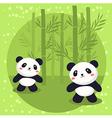 Two Little Panda Bear Bamboo vector image