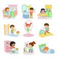 kids everyday activities set children daily vector image