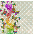 vintage floral ornament with butterflies vector image