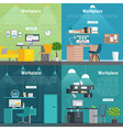 Banner set Office workplace interior design vector image vector image
