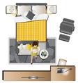 Bedroom top view set 1 vector image vector image