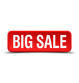 big sale red three-dimensional square button vector image vector image