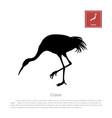 black silhouette a japanese crane vector image vector image