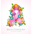 Breast cancer day campaign pink ribbon and flowers vector image vector image