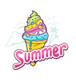 bright ice cream on white background vector image vector image