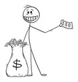 cartoon man or businessman giving money away vector image vector image