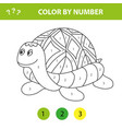 cartoon turtle color number educational game vector image vector image