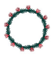 christmas wreath hand drawn fir tree branches vector image