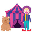 circus tent with bear teddy and clown vector image
